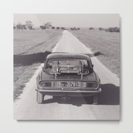 Triumph spitfire on a gravelly road in southern Italy, english sports car, fine art photography Metal Print