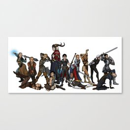 Strong female pose - Dragon Age group Canvas Print
