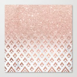 Faux rose gold glitter ombre rose gold foil triangles chevron geometric on white marble Canvas Print