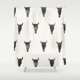 Stamped Skull Shower Curtain