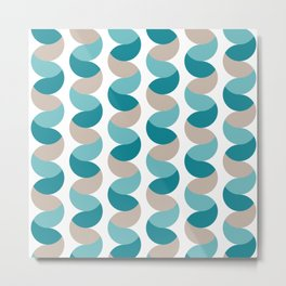 Abstract circle vertical rows teal & cream Metal Print