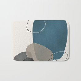 Abstract Glimpses in Aqua and Taupe Bath Mat