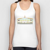 carousel Tank Tops featuring Carousel - cream background by Little Moon Dance