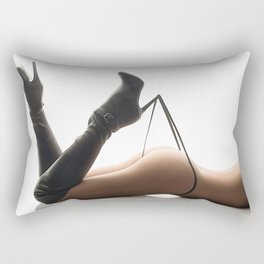 Sexy Woman Black Leather Boots and Thong Rectangular Pillow