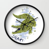 crocodile Wall Clocks featuring Crocodile by Sam Jones Illustration