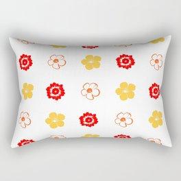 Red and Orange Flower Pattern Rectangular Pillow