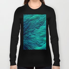 Teal Feathers Long Sleeve T-shirt