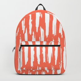 Vertical Dash White on Deep Coral Backpack