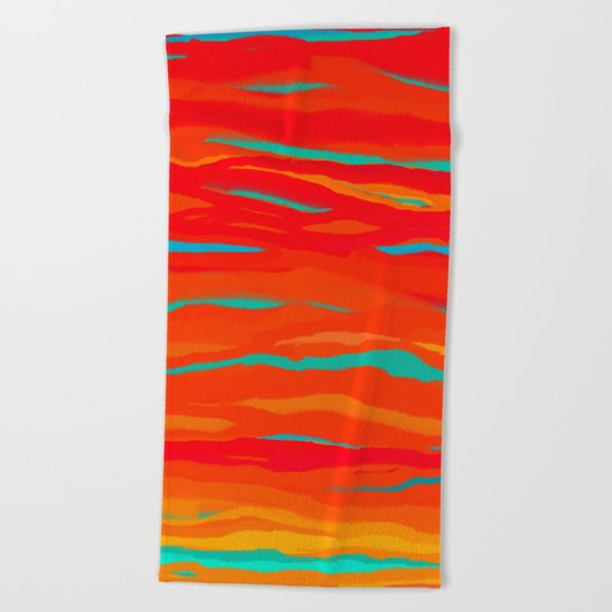 Ripped Turquoise Sunset Gradient Sky Beach Towel