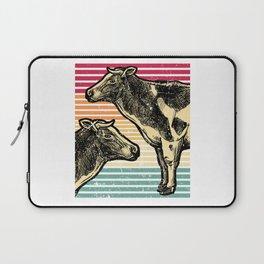 Cow Retro Farmer Rancher Funny Farming Gift Idea Laptop Sleeve
