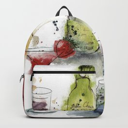 Cocktails watercolor. Backpack