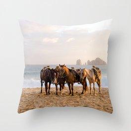 Horses on the beach Throw Pillow