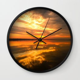 majestic sunset in clouds of the sky  Wall Clock