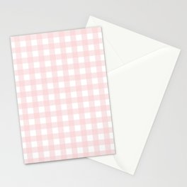 Pastel pink gingham pattern Stationery Cards