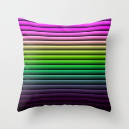 Simple lines of pink and green spectra Throw Pillow