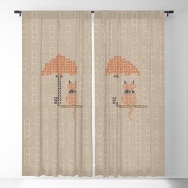 Funny Red Stitched Cat Blackout Curtain