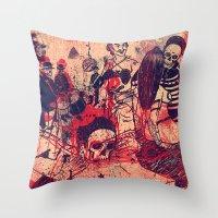 doom Throw Pillows featuring Boom Doom Ka Doom by zansky