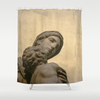 madonna Shower Curtains featuring  Madonna and Child by Amanda Jane Dalby