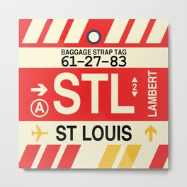 STL St. Louis • Airport Code and Vintage Baggage Tag Design Metal Print