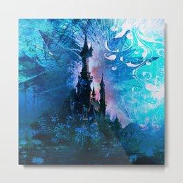Blue Grunge Fairytale Fantasy Castle Metal Print