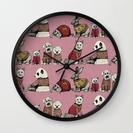 vintage chums pink Wall Clock
