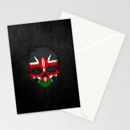 Flag of Kenya on a Chaotic Splatter Skull Stationery Cards