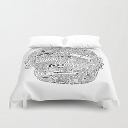 Multi-Faced (Black Ink Edition) Duvet Cover