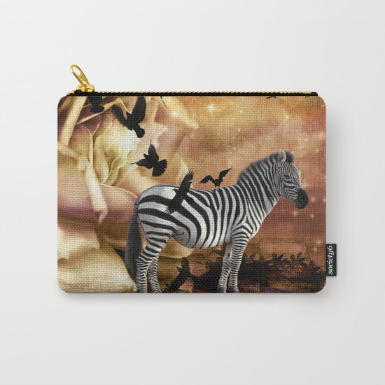 Beautiful zebra with birds Carry-All Pouch