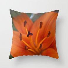 Orange Tiger Lily Throw Pillow