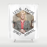 leslie knope Shower Curtains featuring Leslie Knope is My Spirit Animal by Dwell Beautiful