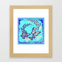 Blue Butterflies Blue & Purple Pattern Abstract Framed Art Print