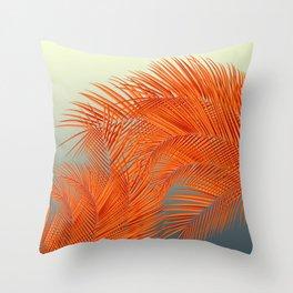 Palm Leaves, Orange Throw Pillow