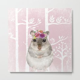 Animals in Forest - The little Hamster Metal Print