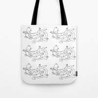 tyrion Tote Bags featuring Caterpillar by Ariel Ni-Wei Huang