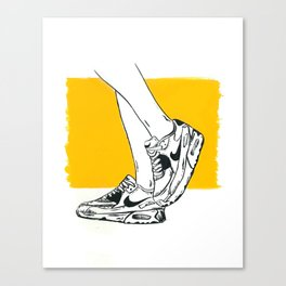 Kickin' in the Sun · Sneakers Illustration in India Ink Canvas Print
