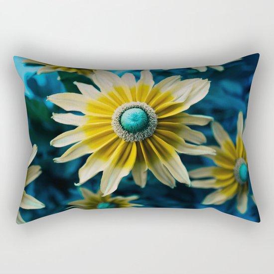 yellow and turquoise Rectangular Pillow