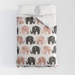 Cute rose gold black hand drawn elephant pattern Comforters