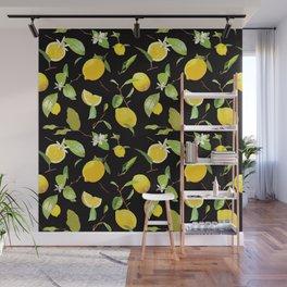 Watercolor Lemon & Leaves 8 Wall Mural