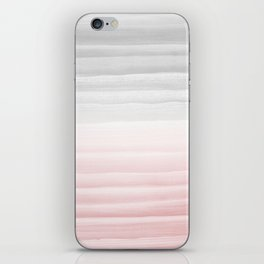 Touching Blush Gray Watercolor Abstract Stripe #1 #painting #decor #art #society6 iPhone Skin