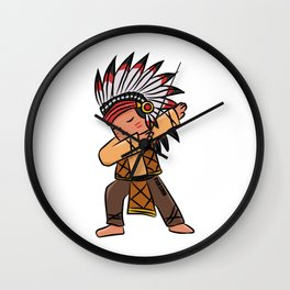 Children Indian chief dabbing dance gift Wall Clock