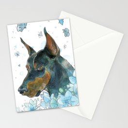 Blue Doberman Stationery Cards