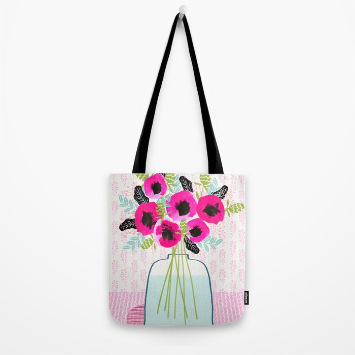 Poppies Vase of flowers cut flower mother's day cute florals illustration Andrea Lauren Tote Bag