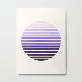 Purple Mid Century Modern Minimalist Scandinavian Colorful Stripes Geometric Pattern Round Circle Fr Metal Print