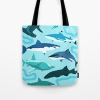 sharks Tote Bags featuring Sharks by Raffles Bizarre