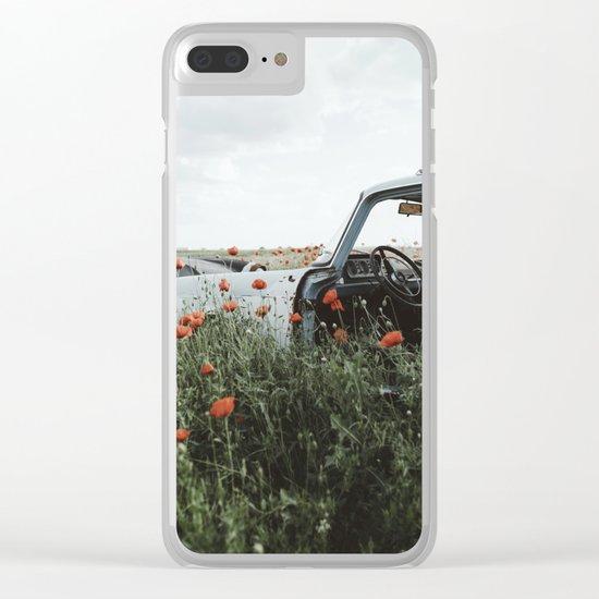 Old car in poppy field Clear iPhone Case