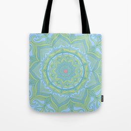 Blue and Green Flower Mandala Tote Bag