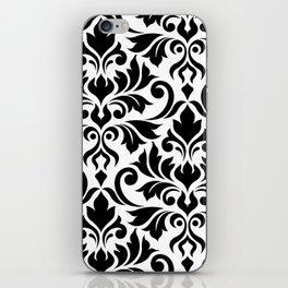 Flourish Damask Art I Black on White iPhone Skin