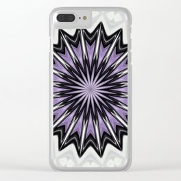 Ultra Violet Silver and Lilac Abstract Kaleidoscope Pattern Clear iPhone Case