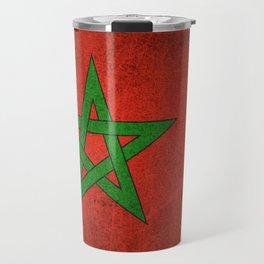 Old and Worn Distressed Vintage Flag of Morocco Travel Mug