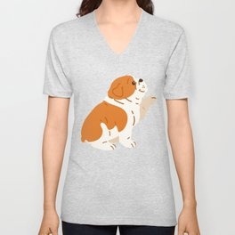 Brown / White colored English Bulldog shaking hand Unisex V-Neck